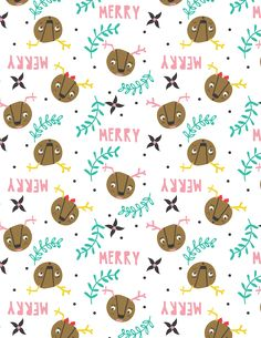 printable wrapping paper by tammie bennett for happy happy collective Illustration Art Drawing, Illustrations, Christmas Wrapping, Christmas Gifts, Printable Wrapping Paper, Reindeer Head, Free Christmas Printables, Happy Fun, Creations