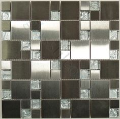 Moso Mosaics  Stainless Steel Series, Unique Shapes, Stainless Steel, Glossy, Silver, Glass and Metal