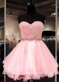 Homecoming Dresses,Organza Lace Sweetheart Homecoming Dress,Cocktail Dress