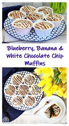 Blueberry, Banana & White Chocolate Chip Muffins with white chocolate drizzle are beautifully moist, fruity & delicious! #blueberrymuffins #blueberrybananawhitechocolatechipmuffins #blueberrymuffinswithgreekyogurt #blueberryandbananamuffins #blueberrymuffinseasy #blueberrymuffinsrecipe #blueberryandbananamuffinsrecipe #blueberryandbananamuffinsgreekyogurt #muffins