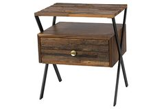 Zoe End Table on OneKingsLane.com  made of reclaimed wood (black walnut/reclaimed hardwood/stee)   color is almond/mahogany  Great piece for bed or living room   love this piece!
