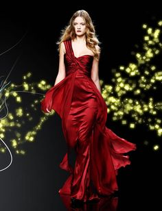 on the runway: red evening dress