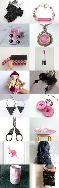 Pink and Black by Marlena Rakoczy on Etsy--Pinned+with+TreasuryPin.com