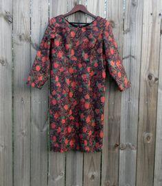 S M Vintage 80s Red Rose Dark Floral Print by PinkCheetahVintage