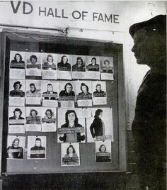 """""""At a US base outside Munich, a soldier inspects a gallery of German girls who have spread venereal disease among the troops. 1947."""" I've seen posters and images galore, and still have yet to find one that warns girls about the guys who these women caught VD from in the first place."""