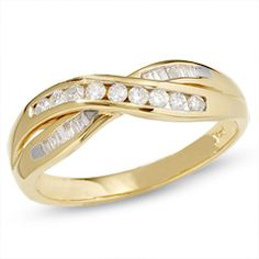 1/4 CT. T.W. Diamond Crossover Band in 14K Gold