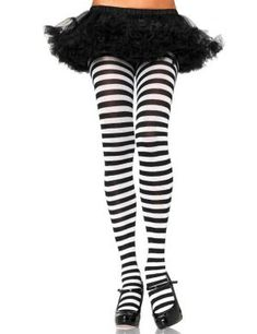 Ladies Black And White Striped Fancy Dress Witch Halloween Costume Stockings