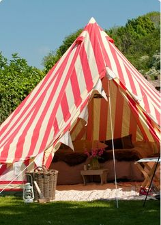 How fun would it be to have a teepee tent like this in the backyard? - pink wallpaper