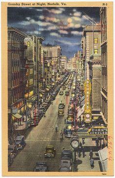 Granby Street, at night, Norfolk, VA. [1930-1945] by Boston Public Library via Flickr