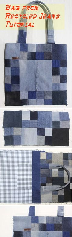 Sew a Patchwork Denim Shopping Bag from Recycled Jeans. Photo Sewing Tutorial.   http://www.handmadiya.com/2016/05/patchwork-denim-shopping-bag-sewing.html