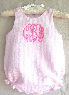 Pink Seersucker Baby Bubble - Monogrammed