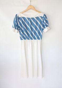 Vintage 60s Blue & White Diagonal Stripe Wiggle Dress // VAUX