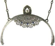 Silverplate jeweled purse frame