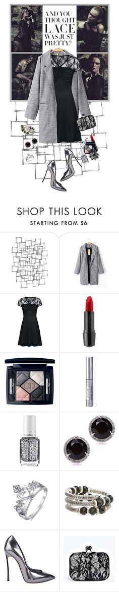 """Lovely Lace Dress..Lovely Evening Look"" by shortyluv718 ❤ liked on Polyvore featuring Arteriors, Lancôme, Christian Dior, Isadora, Essie, Annello, Casadei, Boohoo and msfairy"