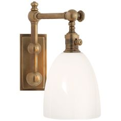 """Pimlico Single Light in Antique-Burnished Brass with White GlassItem # CHD 2153AB-WGDesigner: E. F. ChapmanHeight: 11""""Width: 6""""Extension: 12""""Backplate: 3"""" x 6.5"""" RectangleSocket: E26 On-OffWattage: 60 B11Weight: 6 PoundsRequires Smaller Outlet Box"""