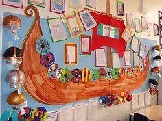 Lady Bay Primary School, Nottingham. Viking display. Y4 Classroom Displays Ks2, Ks2 Classroom, Teaching Displays, School Displays, Classroom Decor, I Love School, Middle School Art, Vikings Ks2, Display Boards For School