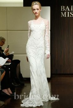 Long sleeved lace gown by Badgley Mischka