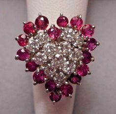 1960s Valentine Cocktail Ring - 14K White Gold w/ Ruby & Diamond Heart. Its SO lovely. I LIKE THIS. Slvh