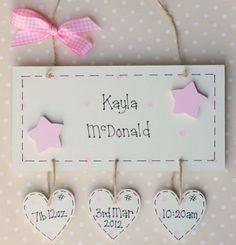 Personalised Wooden Newborn Gift Baby Girl Boy Plaque
