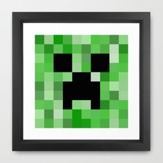 home decor. gifts for steve. just plain hip.  A Minecraft lovers dream! Geeky home decor that meets their needs, and tells a story about their favorite things in life. Every gamer deserves a Creeper on their wall...but be careful they might just....BOOOOOM!!!  ♥ Size & Paper:  A popular 12...
