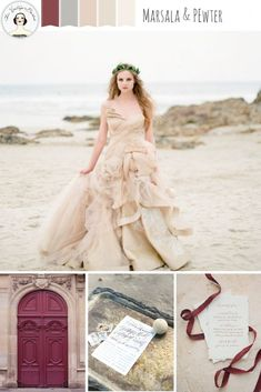 Marsala & Pewter - Beach Wedding Inspiration in an Elegant Colour Palette of Marsala, Pewter, Blush & Sand