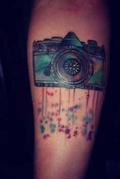 watercolor camera tattoo