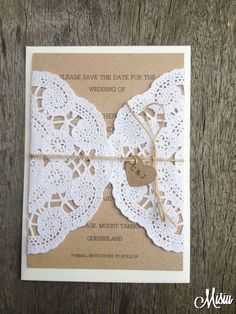 Simply Lace Save The Date Card Wedding by MisiuPaperware on Etsy