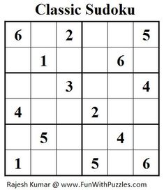 To solve this Mini Classic Sudoku, fill in the grid from 1 through 6 so that every row, every column and every boxes region contains distinct digits. Sudoku Puzzles, Crossword Puzzles, Logic Puzzles, Printable Puzzles For Kids, Free Printable, Preschool Activities At Home, English Worksheets For Kids, Maila, Math Facts