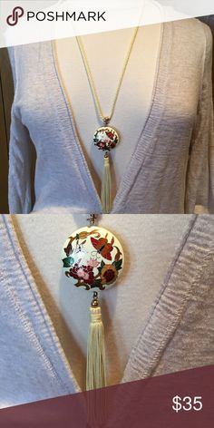 """Vintage Cloisonné 30"""" rope necklace. Stunning conversation starter.  30"""" long.  6"""" medallion and tassel Jewelry Necklaces"""
