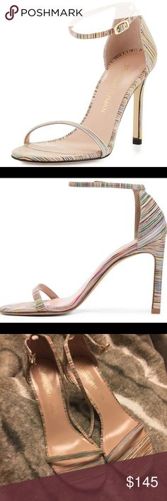 "Stuart Weitzman Nudist Rainbow Striped Heels So pretty! ❤️ brand new--no box. 4.5"" heel. Stuart Weitzman Shoes Heels"