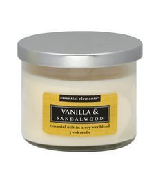 Essential Elements Candle Vanilla and Sandalwood.....this is one of my favorites ever!!! And super adffordable. Cannot say enough good things about it.