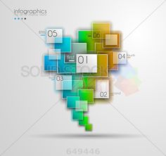 stock illustration of gradient grey square infographics overlapping transparent colored squares six options