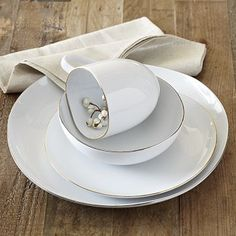 #ModernThanksgiving. Gold rimmed white plates. Organic Shaped Dinnerware Set-Metallic Rimmed #WestElm