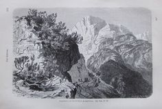 1896 LEGFÖHRE IM TIROLISCHEN HOCHGEBIRGE alter Druck antique Print Lithographie