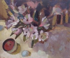 Hearth - alstroemerias Oil painting on board by Lesley Brooks