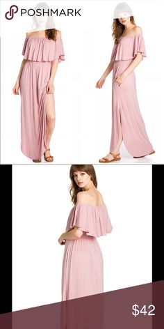 🌸Dusty Rose off shoulder Maxi dress This trendy maxi dress is great for easy everyday dress. Endless styling options. Stylish,yet incredibly comfortable. Full length skirt. Easily transition from day to night effortless. This off shoulder maxi dress has side pockets and side open slit. Made with soft knit jersey.  Long Maxi Dress Made In USA Sweet Pea Dresses Maxi