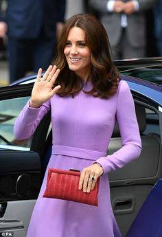The Duchess, who love to recycle accessories, has debuted a whole wardrobe of new designer pieces this week. For her 2017 visit to Hamburg she wore a lavender dress from Emilia Wickstead