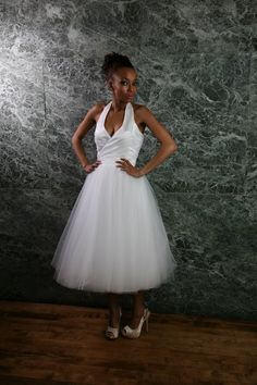 halter wedding reception dress with tule skirt