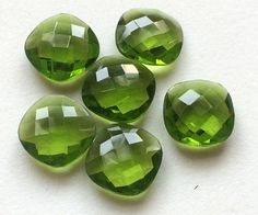 6 Pcs Green Hydro Quartz Stones Cushion Cut by gemsforjewels