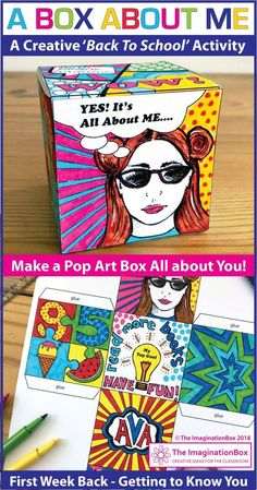This 'All About Me Pop Art Box' is a fun Back to School art activity for the classroom. grade teachers, use this resource as a first week back getting to know you lesson, encouraging team building and learning. The finished boxes, task c 1st Day Of School, High School Art, Middle School Art, Beginning Of School, Primary School Art, School Fun, Get To Know You Activities, First Day Activities, Art Activities