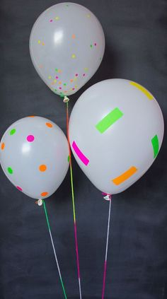 Last minute DIY balloon ideas for birthday parties and more using dollar store supplies that will make your party rock. Easy DIY balloon tutorials for kids. Neon Birthday, 13th Birthday Parties, Slumber Parties, Birthday Party Decorations, Party Themes, Ideas Party, Glow Party Decorations, Birthday Ideas, Dance Party Birthday