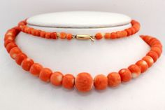 Priceless, Carved Angelskin/Salmon Coral is as rare as it gets! The coral in this beautiful necklace includes that gorgeous Salmon Hue that is so highly prized, but also hints of white Angelskin coral color striations on some of the beads.