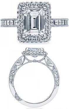 Tacori, diamond engagement ring, wedding, bride, bridal, princess, diamonds, crescent, pave, millegraining, engraving, emerald cut, ribbon, twist, split shank, halo, princess cut, basket