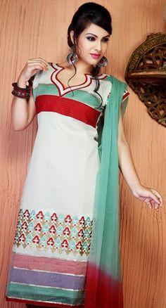 $42.44 Off White Thread Work Cotton Silk Churidar Salwar Suit 26143