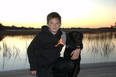Lab, boy and dog, Christmas card photo, waterfront, wadmalaw island