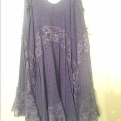 FREE PEOPLE INTIMATE COLLECTION This could be very versatile... Blouse, lingerie, summer dress take your pick! Purple with lace detail, very soft and light. No trades please Free People Dresses