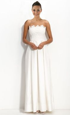 Luxurious Satin Empire Strapless Floor-Length Appliqued Wedding Dress