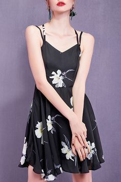 Black Criss Cross Flower Print Dress | Mini Dresses at DEZZAL