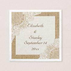White lace on burlap rustic wedding paper napkin
