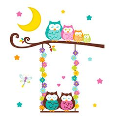 Owl Tree Swing Wall Mural Decal for baby girl woodland nursery or children's forest friends animal room decor. An adorable mural of a family of owls out for a moonlight swing #decampstudios